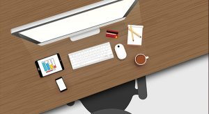 Designated office desk at home